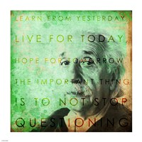 Einstein – Live & Learn Quote Framed Print