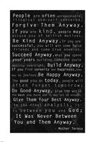 Mother Teresa Quote Black Fine Art Print