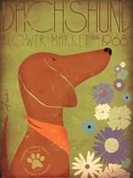 Dachsund Flower Market Fine Art Print