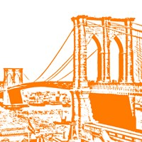 Orange Brooklyn Bridge Fine Art Print