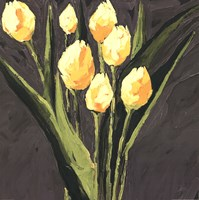 Yellow Tulips On Gray Square Fine Art Print