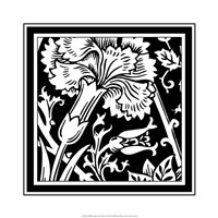 "B&W Graphic Floral Motif I by Vision Studio - 19"" x 19"""