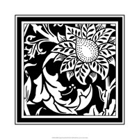 "B&W Graphic Floral Motif II by Vision Studio - 19"" x 19"""