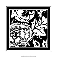 "B&W Graphic Floral Motif III by Vision Studio - 19"" x 19"""