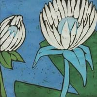 Turquoise Batik Botanical IV Fine Art Print
