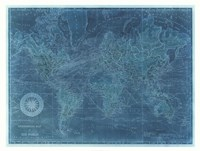 """Azure World Map by Vision Studio - 42"""" x 32"""" - $93.99"""