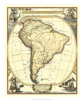 Nautical Map of South America Fine Art Print