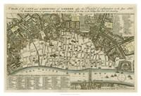 "City Plan of London - 38"" x 26"", FulcrumGallery.com brand"