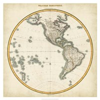 "1812 Western Hemisphere by Pinkerton, 1812 - 32"" x 32"", FulcrumGallery.com brand"