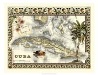 Tropical Map of Cuba Fine Art Print