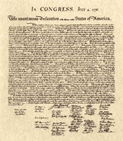 Declaration of Independence Khaki Fine Art Print
