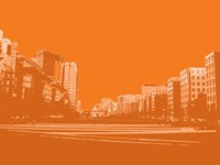 City Block on Orange Fine Art Print