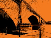 London Bridges on Orange Fine Art Print