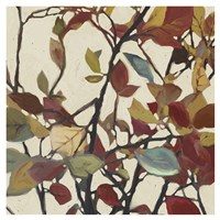 Bordeaux Leaves I - Mini Fine Art Print