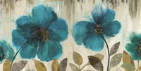 Teal Flowers Wall Poster