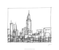 "Wire Frame Cityscape II by Ethan Harper - 26"" x 22"""