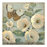 Butterfly & Hollyhocks II Fine Art Print