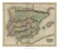 Vintage Map of Spain & Portugal Fine Art Print