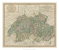 Vintage Map of Switzerland Framed Print