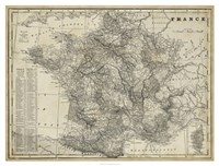 """Antique Map of France by Vision Studio - 42"""" x 32"""", FulcrumGallery.com brand"""