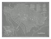 "City Map of Washington, D.C. by Vision Studio - 26"" x 20"""
