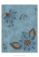 Whimsical Blue Floral I Fine Art Print