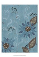 Whimsical Blue Floral II Framed Print