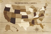 USA Modern Vintage Wood Fine Art Print