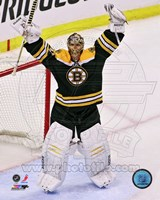 Tuukka Rask celebrates winning the 2013 Eastern Conference Finals Fine Art Print