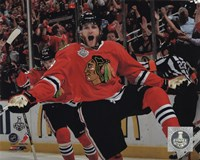 Patrick Kane celebrating first goal Game 5 of the 2013 Stanley Cup Finals Fine Art Print