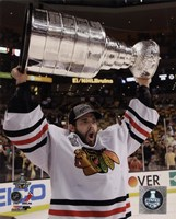 Corey Crawford with the Stanley Cup Game 6 of the 2013 Stanley Cup Finals Fine Art Print
