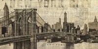 Vintage NY Brooklyn Bridge Skyline Fine Art Print