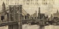 Vintage NY Brooklyn Bridge Skyline Framed Print