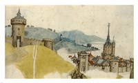 View of a Walled City in River Landscape - various sizes