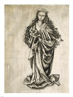 Standing Female Saint by Martin Schongauer - various sizes, FulcrumGallery.com brand