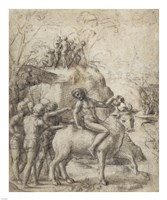 A Man Riding a Bull Fine Art Print