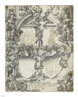 Design for a Marriage Window with the Seasons Spring and Summer by Daniel Lindtmayer - various sizes