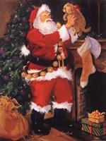 Santa With Puppy Fine Art Print