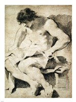 Study of a Seated Young Man Fine Art Print
