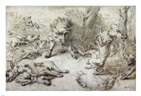 A Wild Boar at Bay by Frans Snyders - various sizes
