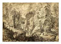 Mountain Landscape, Peasants in a Clearing near a Waterfall Fine Art Print
