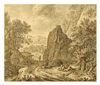 Mountain Landscape with Figures by Herman Saftleven - various sizes
