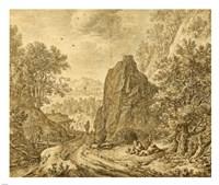 Mountain Landscape with Figures Fine Art Print