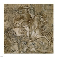 Equestrian Portrait of Don Juan Jose of Austria Fine Art Print