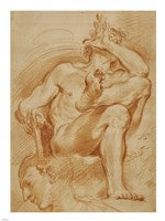 A Seated Nude Man, A Youthful Head, and a Caricature Head of a Man Playing a Pipe Fine Art Print
