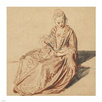 Seated Woman with a Fan Fine Art Print