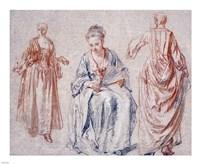 Studies of Three Women by Jean-Antoine Watteau - various sizes