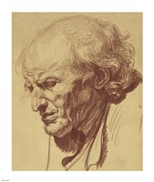 Study of the Head of an Old Man by Jean-Baptiste Greuze - various sizes
