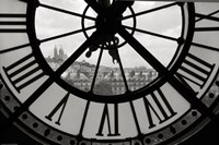 Big Clock Horizontal Black and White Framed Print