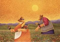 """Picking Wildflowers by Lowell Herrero - 7"""" x 5"""", FulcrumGallery.com brand"""